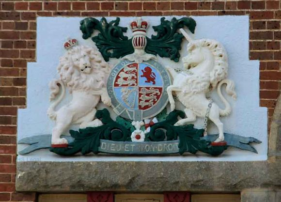The Royal Coat of Arms of the United Kingdom on the Albany Courthouse.