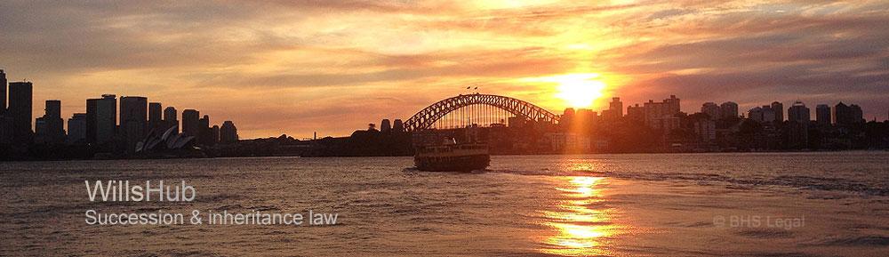 succession law in Australia, Sydney Harbour at sunset,